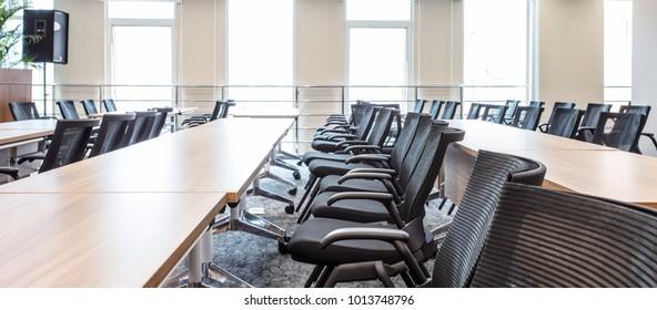 Modern business training classroom, no one before class