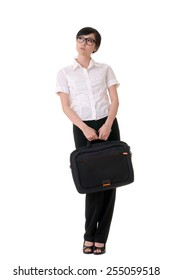 Modern business woman of Asian carry briefcase, full length portrait on white background.