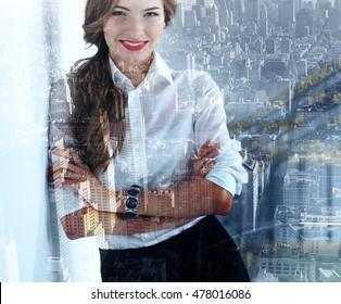 Modern business woman in the office. Double Exposure