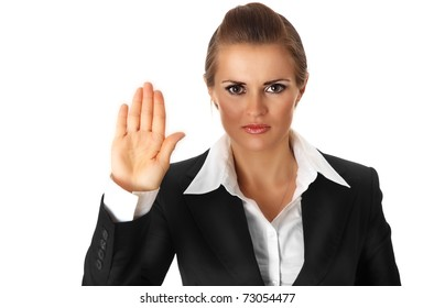 modern business woman showing stop gesture isolated on white