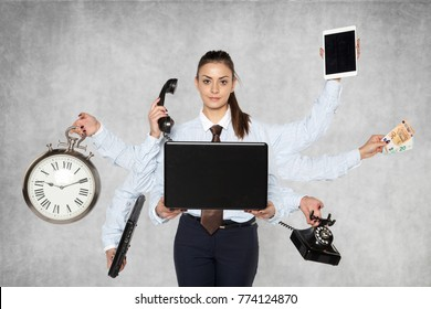 modern businesswoman replaces several people at once