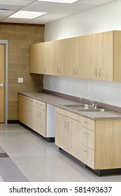 Modern cabinets in a new elementary school.  The cabinets are designed for function and economy.