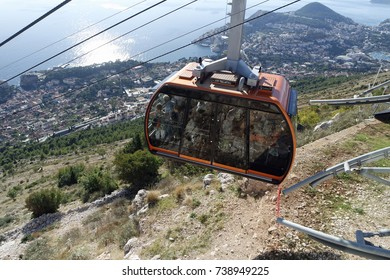 modern cable car running up a hill in dubrovnik in croatia