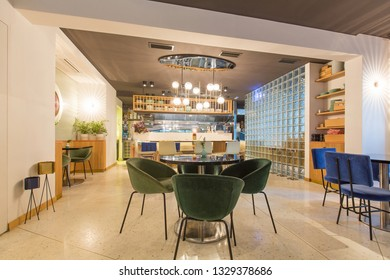 Modern cafe bar interior background