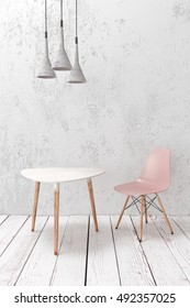 Modern cafe furniture on wooden plank floor against white wall, loft concrete pendant lamps above