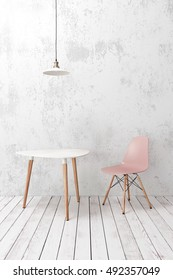 Modern cafe furniture on wooden plank floor against white wall, pendant lamp above