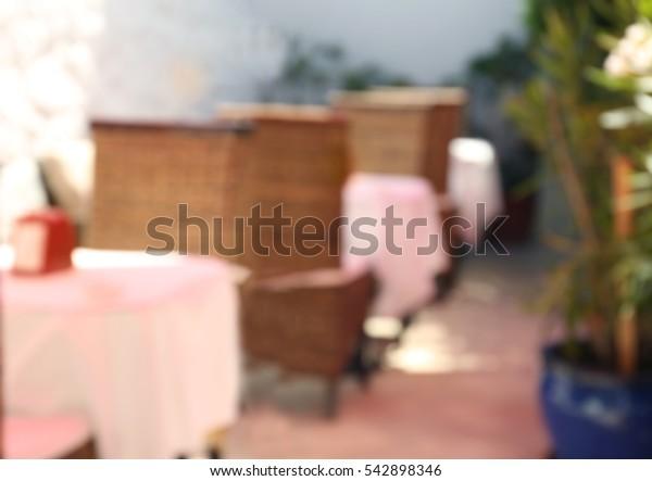 Modern cafe interior blurred background