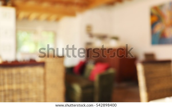 Modern cafe interior blurred background