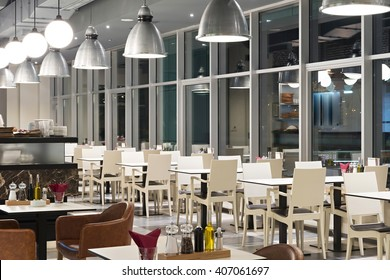 Modern canteen interior in the evening