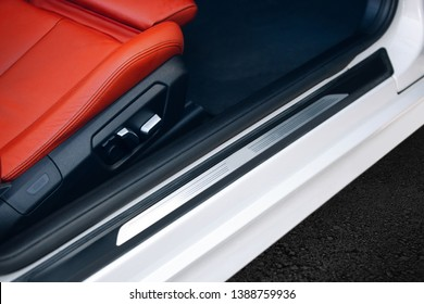 Modern car door threshold. Car open door frame