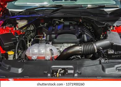 Modern car engine.