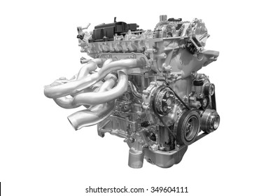 Modern car engine of concept car isolated on white background with clipping path