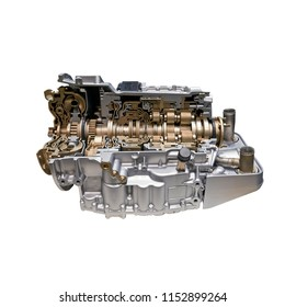 Modern car engine and gear box isolated