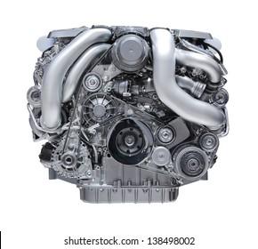 modern car engine isolated on white background.