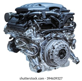 modern car engine isolated on white background