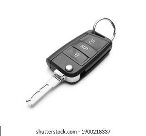 Modern car flip key isolated on white