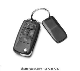 Modern car flip key with trinket isolated on white