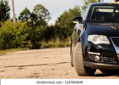 modern car front of lights to illuminate