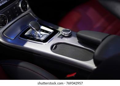 Modern car gear interior in Luxury car.