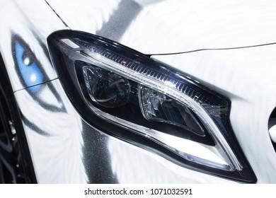 Modern car headlights.Led car headlights.