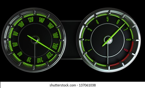 Modern car illuminated dashboard isolated on black background High resolution 3d