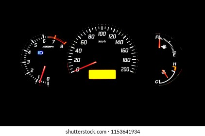Modern car instrument dashboard panel or speedometer and full symbol at night