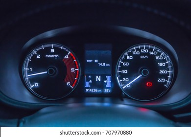 Modern car instrument panel dashboard with car dashboard.