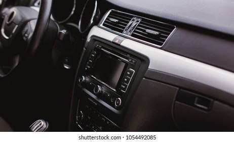 modern car interior. air condition in auto. car multimedia and navigation
