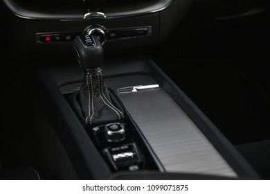 Modern car interior. Automatic gear shift knob.