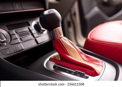 Modern car interior, close up photo