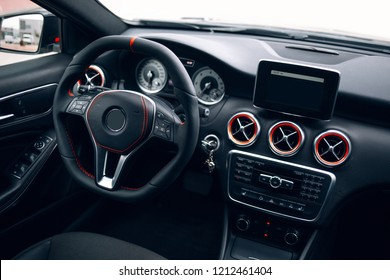 Modern car interior. Driver place