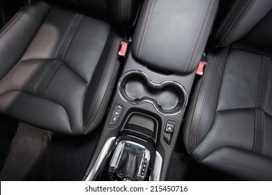 Modern Car Interior Top View. Black Leather Brand New Car Interior.