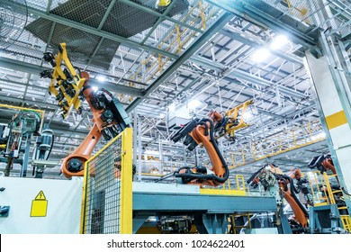 Modern car production line, is working in the robot
