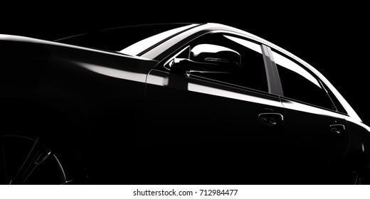 Modern car silhouette in spotlight, black background, 3D rendering