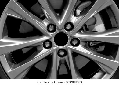 Modern car wheel, closeup