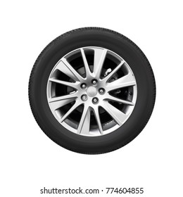 Modern car wheel on light alloy disc, front view isolated on white background