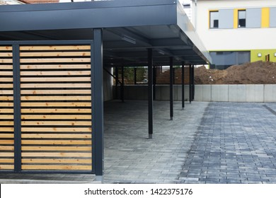 Modern carport system at a residential complex