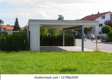 modern carport and way details in south german bavaria countryside new village area