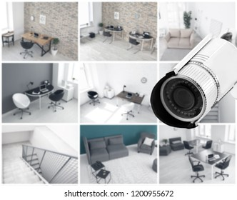Modern CCTV camera with blurred view of office locations