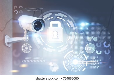 Modern CCTV camera on a wall. A blurred background with an abstract infographics and security HUD. Toned image double exposure mock up