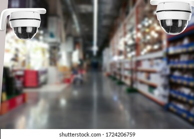 Modern CCTV security camera in shopping mall. Guard equipment