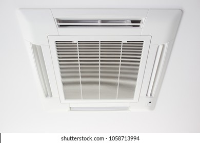Modern ceiling air conditioner in office close up.
