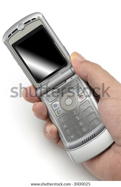 Modern cellphone in a male hand