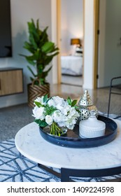 modern centrepiece on living room table