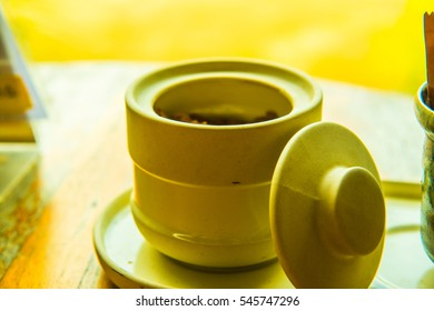 Modern ceramic jar with cover, Thailand.