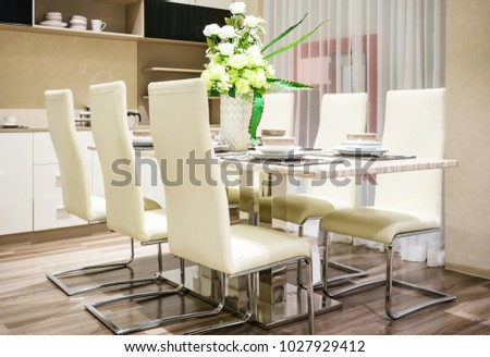 Modern Ceramic Tableware In Green Color Scheme Setting On Dining Table Luxury House
