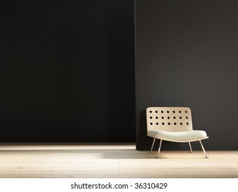 modern chair to face a blank wall