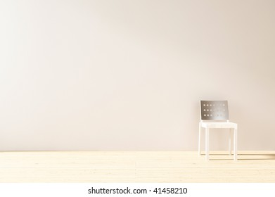 Modern Chair to face a blank white wall
