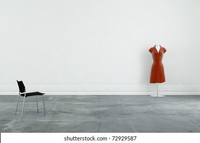 modern chair and red dress to face a blank wall