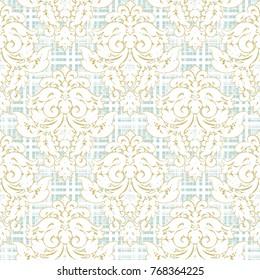 modern check damask grunge  seamless pattern